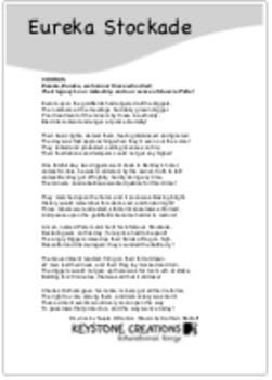 'EUREKA STOCKADE' (Grades 4-7) ~ Lyric Sheet PDF: Key events & People