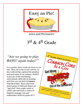 """""""Easy as Pie!"""" Area and Perimeter 3rd & 4th Grade Common Core Game Packet"""