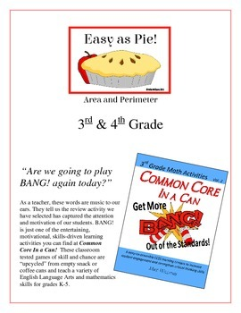 """""""Easy as Pie!"""" Area and Perimeter 3rd & 4th Grade Game Packet"""