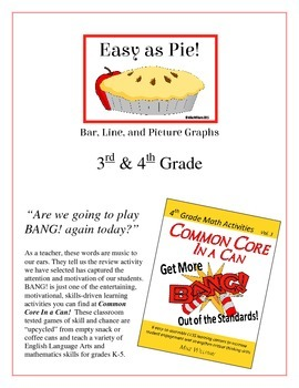 """Easy as Pie!"" Bar, Line, & Picture Graphs 3rd & 4th Grade CCSS Game Packet"