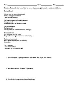 """""""Eating Poetry"""" Worksheet"""