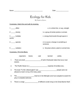 """Ecology For Kids"" QUIZ (Grade Four Journeys Reader)"