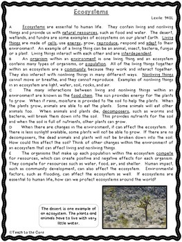 """""""Ecosystems"""" CCSS Aligned 3rd-6th Close Reading Pack- w/Assessment"""