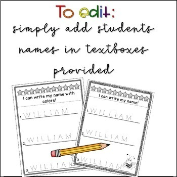 *Editable* Preschool or Kindergarten Name Tracing Sheets (English)