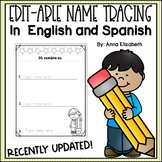 Editable Name Tracing Practice (English/Spanish)