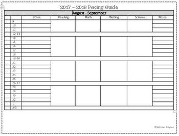 ***Editable 2017-2018 Pacing Guide