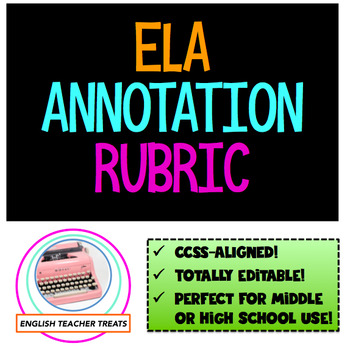 **Editable ELA ANNOTATION RUBRIC** CCSS-aligned, perfect for grades 9-12