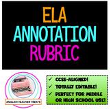 **Editable ELA ANNOTATION RUBRIC** CCSS-aligned, perfect for grades 9-12