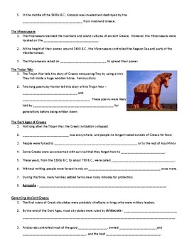 """""""Editable"""" Ancient Greece Note Packet with Teacher Answer Key (Middle School)"""