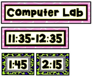 """Editable"" Animal Print Schedule Cards"