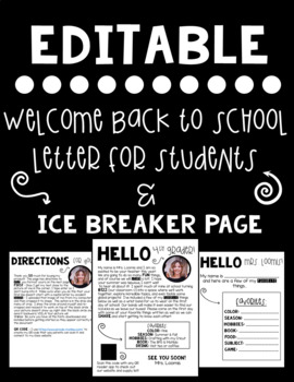 *Editable* Back To School Letter for Students
