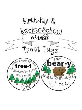 {Editable} Back to School & Birthday Treat Tags!