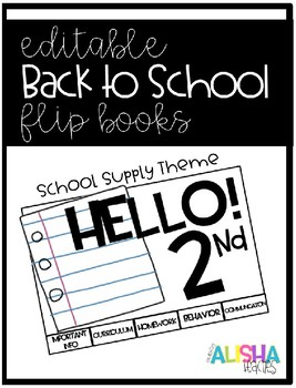 [Editable] Back to School Flipbooks