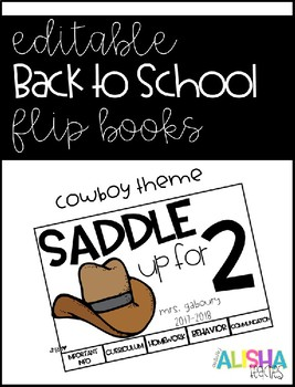 [Editable] Back to School Flipbooks *Cowboy Themed*