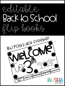 [Editable] Back to School Flipbooks *Polka Dot Freebie*