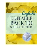 ~ Editable Back to School Letter! ~