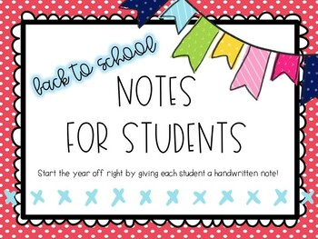 *Editable* Back to School Notes for Students