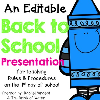 *Editable* Back to School Powerpoint Presentation {White Version}