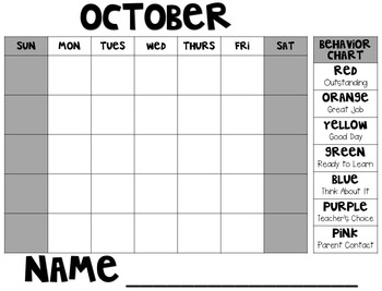 *Editable* Behavior Monthly Log