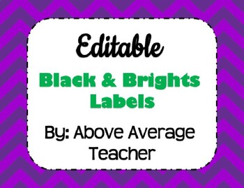 "*Editable* ""Black & Brights"" Theme Labels"