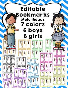 Editable Bookmarks - 7 color choices 6 girl & 6 boy choices