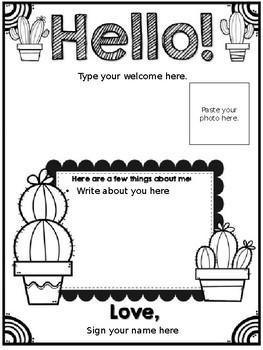**Editable** Cactus Themed Meet the Teacher Letter