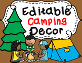 **Editable Camping Decor Bundle** (brown backgrounds)