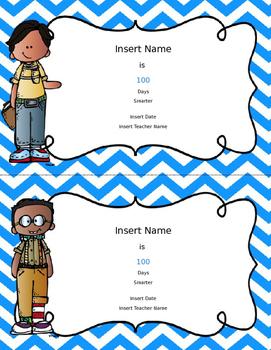 Editable- Certificates - 7 color choices 6 girl & 6 boy choices