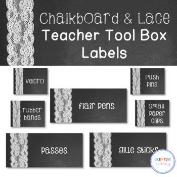*Editable* Chalkboard & Lace Teacher Toolbox Labels