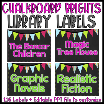 {Editable} Chalkboard Library Labels