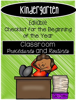 *Editable Checklist for Beginning of the Year Kindergarten*
