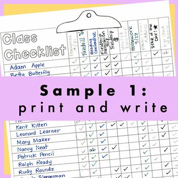 *Editable* Class Checklist: fire drill, homework, roster, attendance, fieldtrips