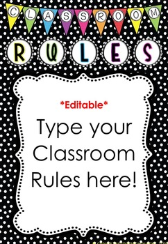 *Editable* Class Rules and Class Message Poster 'Bright Dots' Classroom Theme