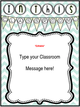 *Editable* Class Rules and Message Posters 'Natural Colors' Chevron Theme