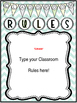 *Editable* Class Rules and Message Posters 'Natural Colors