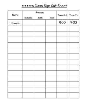 *Editable* Class Sign Out Sheet