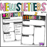 Editable Bright Classroom Newsletters - Monthly + Weekly T