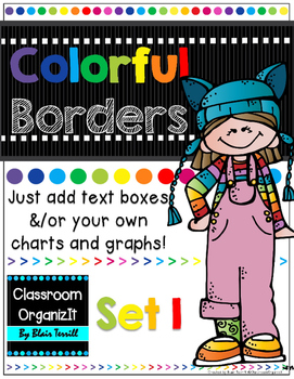 {Editable} Colorful Borders {Portrait} Set 1