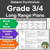 *Editable* Detailed Long Range Plans Gr.3/4 Ontario Curriculum, ALL SUBJ. FI too