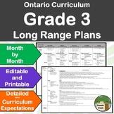 *Editable* Detailed Long Range Plans Gr.3 Ontario Curriculum–ALL SUBJ. , FI too