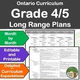 *Editable* Detailed Long Range Plans Gr.4-5 ONT Curriculum
