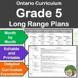 *Editable* Detailed Long Range Plans Gr.5 ONT Curriculum |