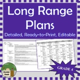 *Editable* Detailed Long Range Plans Gr4 ONT Curriculum | ALL SUBJECTS, FI incl