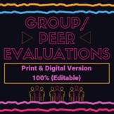 {Editable} Digital and Print Group/Peer Evaluations Rubric