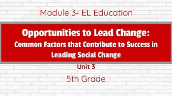 **Editable** EL Education Grade 5 Module 3 Unit 3 SLIDES