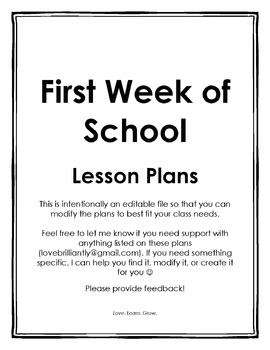 {Editable} First Week of School Lesson Plans