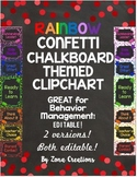 EDITABLE Rainbow Chalkboard Confetti Chart Behavior Manage