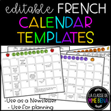 {Editable French Calendar Templates} for newsletter or pla