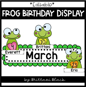 *Editable* Frog Themed Birthday Display
