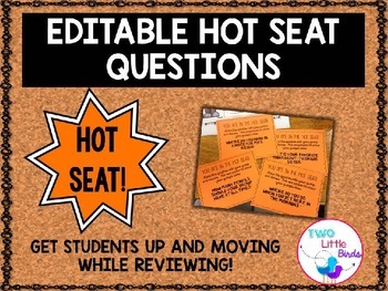 *Editable* Hot Seat Question Cards